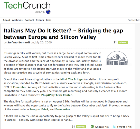 Tech Crunch Europe: post su Mind the Bridge